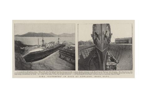 HMS Powerful in Dock at Kowloon, Hong Kong Giclee Print
