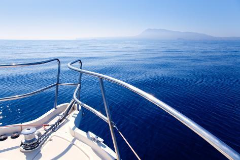 Boat Bow Sailing in Blue Mediterranean Sea in Summer Vacation Photographic Print