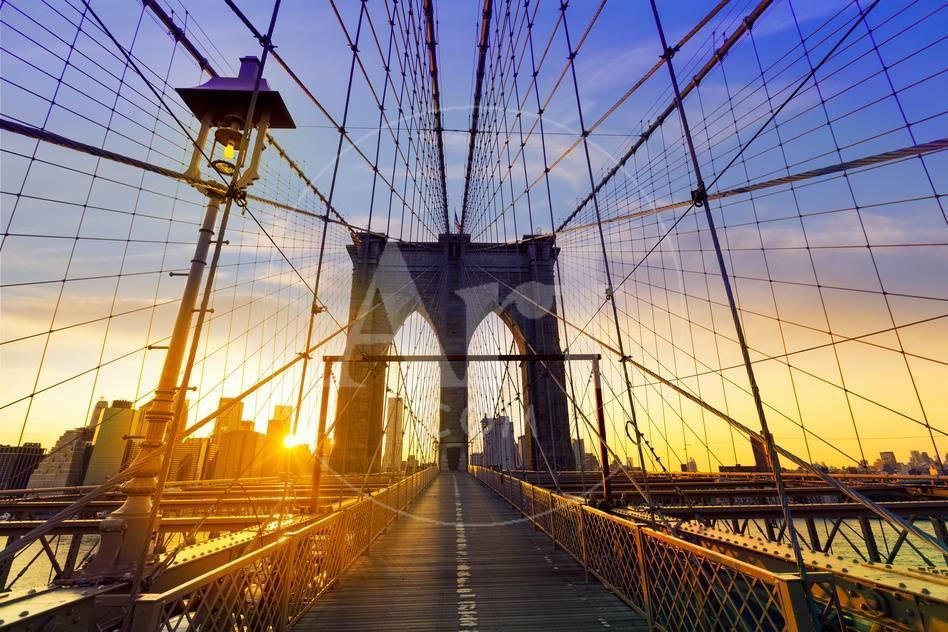 Brooklyn Bridge Sunset New York Manhattan Skyline NY NYC USA Lámina ...