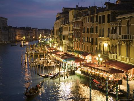 Grand Canal at Dusk, Seen from Rialto Bridge Photographic Print