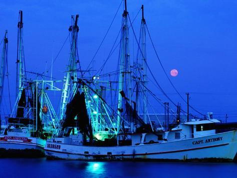 Moon over Shrimp Trawlers in Harbour, Palacios, Texas Photographic Print