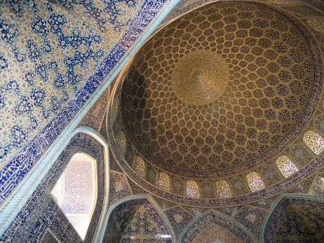 Mosaic Ceiling in Masjed-E Sheikh Lotfollah Mosque, Emam Khomeini Square, Esfahan, Iran Photographic Print