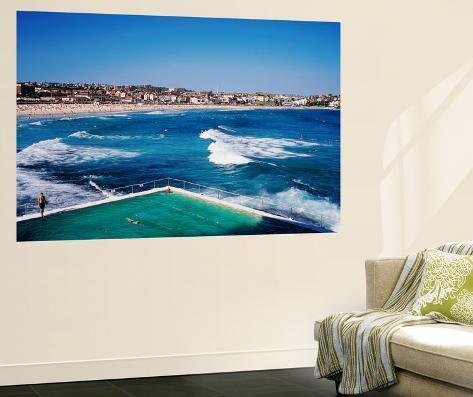 Overhead of Bondi Icebergs Pool and Bondi Beach Giant Art Print