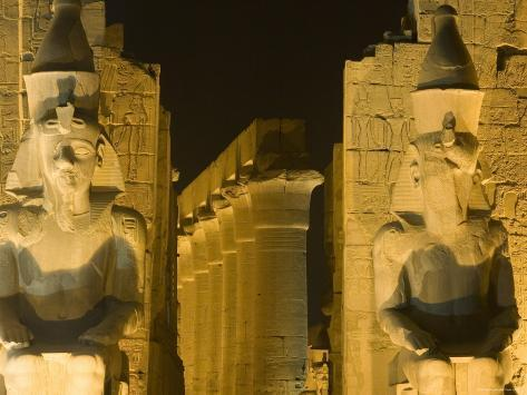 Ruins Floodlit at Night, Luxor, Egypt Photographic Print