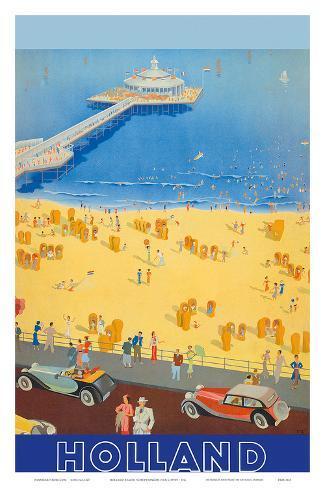 Holland Beach, Scheveningen Pier c.1950s Art Print