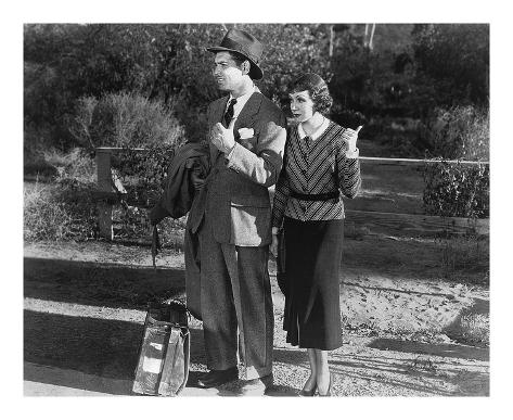 Clark Gable and Claudette Colbert 1934 'It Happened One Night' Stampa artistica