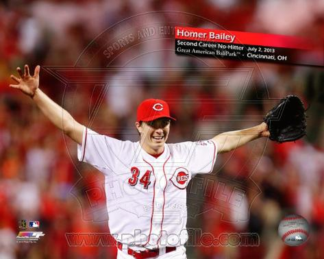 Homer Bailey Second Career No-Hitter, July 2, 2013 Photo