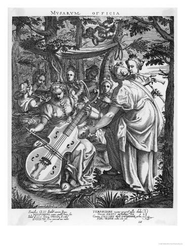 Clio, Thalia, Terpsichore, Euterpe, Polyhymnia, Calliope, Erato, Urania, Melpomene Giclee Print