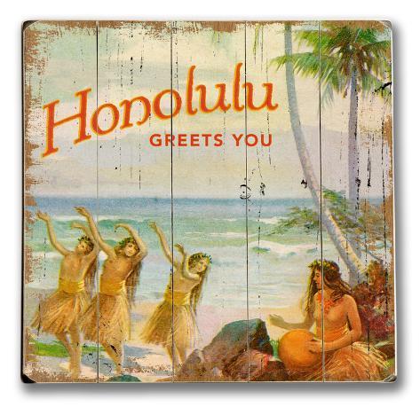 Honolulu Greets You Wood Sign