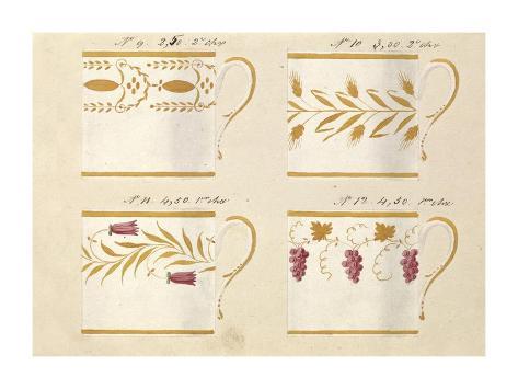 Quatre tasses, modèles: 9,10,11 et 12, ca. 1800-1820 Art Print