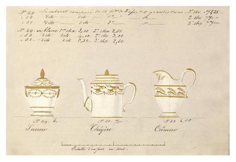 Sucrier, cheyère et cremier, ca. 1800-1820 Art Print