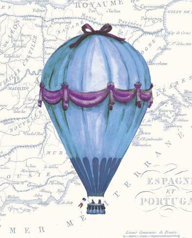Vintage Blue Air Balloon Stampa artistica