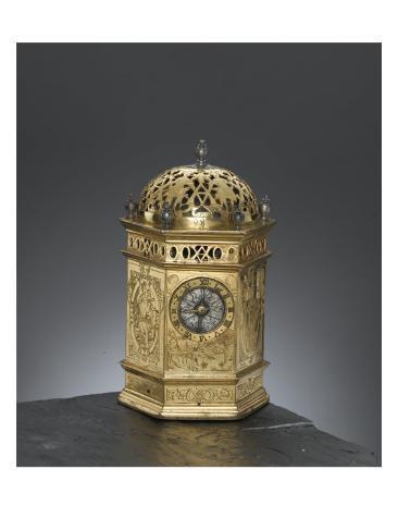 Horloge de table hexagonale en forme de tour Stretched Canvas Print