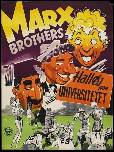 Horse Feathers, Danish Movie Poster, 1932 Art Print