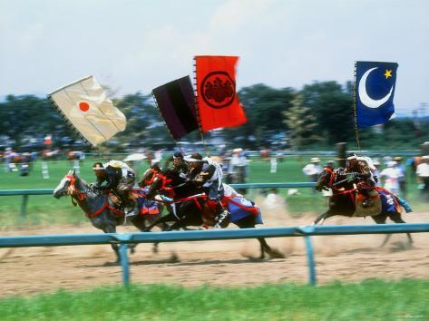 Horse Race in Samurai Armors Photographic Print