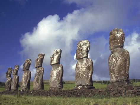 Ahu Akivi, Seven Moais, Easter Island, Chile Photographic Print
