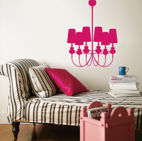 Hot Pink Modern Chandelier Wall Decal