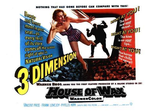 House of Wax, UK Movie Poster, 1953 Art Print