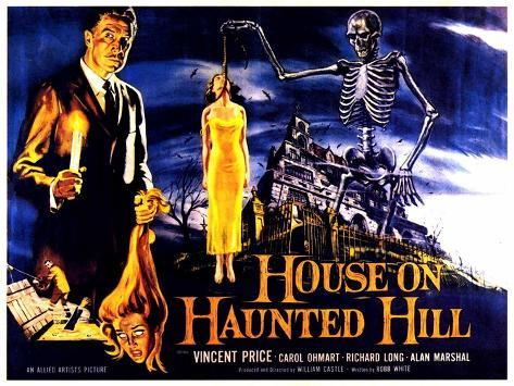 House On Haunted Hill, UK Movie Poster, 1958 Art Print