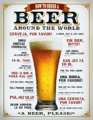 How to Order a Beer Placa de lata