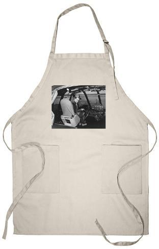 Howard Hughes in Spruce Goose Wooden Plane Photograph - Los Angeles, CA Apron Apron