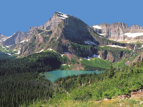 Grinnel Lake Below Mt Gould in Glacier National Park, Montana Photographic Print