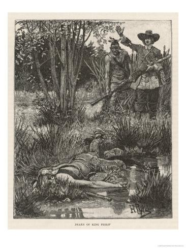 Death of Metacomet (King Philip) Chief of the Wampanoag Indians During King Philip's War 1675-1676 Stampa giclée