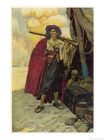 The Buccaneer, as He Lives on in Legend Waiting to be Re- Enacted by Errol Flynn or Burt Lancaster Giclee Print