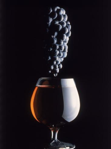 Bunch of Grapes Over a Glass of Wine Photographic Print
