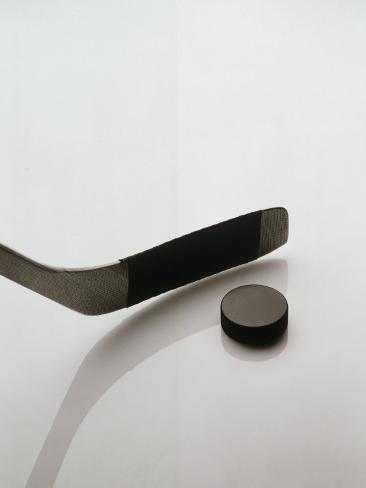 Hockey Stick and Puck Photographic Print