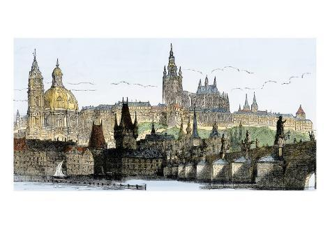 Hradschin Palace, Kleinseite, and Bridge over the Vltava River in Prague, Czechoslovakia, 1800s Giclee Print