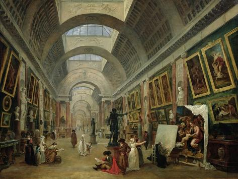 View of the Grand Gallery of the Louvre, 1796 Giclee Print