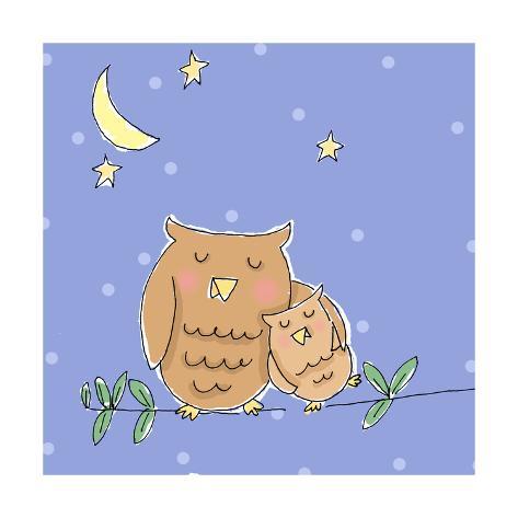 Hug for Baby Owl Art Print