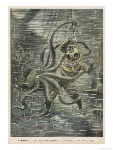 Huge Octopus Nearly Succeeds in Overcoming American Diver Martin Lund But is Eventually Beaten Off Giclee Print