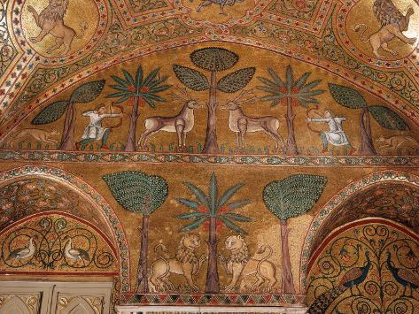 Hunting Scene, Mosaic, Palazzo dei Normanii or Palazzo Reale , Palermo, Sicily 写真プリント