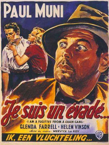 I Am a Fugitive From a Chain Gang, Belgian Movie Poster, 1932 Art Print