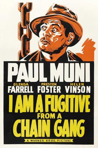 I AM A FUGITIVE FROM A CHAIN GANG, Paul Muni, 1932. Art Print