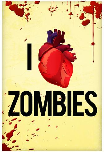 I Heart Zombies Art Poster Print Poster