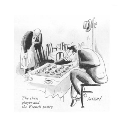 The chess player and the French pastry - New Yorker Cartoon Premium Giclee Print
