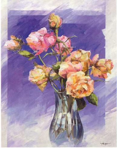 Roses with a Blue Vase Art Print