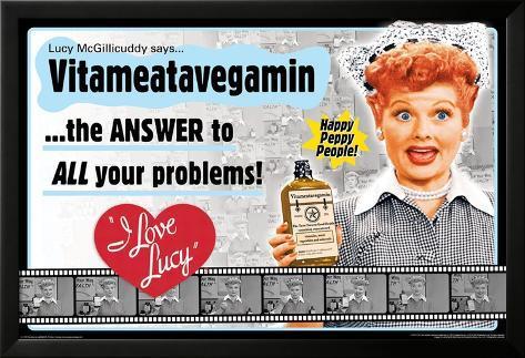 I Love Lucy- Vitameatavegamin Lamina Framed Poster
