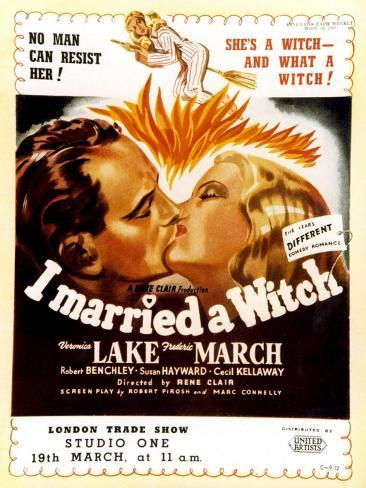I Married a Witch, UK Movie Poster, 1942 Art Print