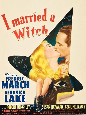 I Married a Witch, Veronica Lake and Fredric March on window card, 1942 Art Print