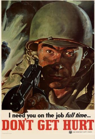 I Need You On the Job Full Time Don't Get Hurt WWII War Propaganda Art Print Poster Masterprint
