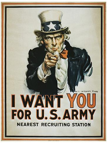 I Want You (Uncle Sam) Vintage Style Propaganda Poster Stampa master