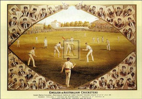 English and Australian Cricketers Art Print