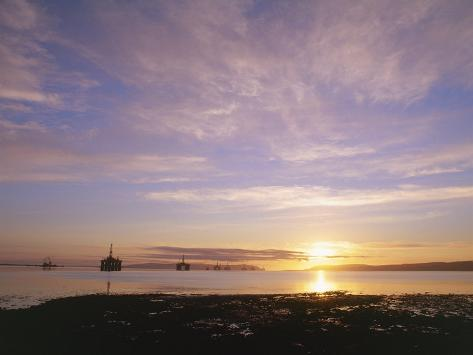 Udale Bay and Oil Rigs at Dawn, Ross-Shire Photographic Print