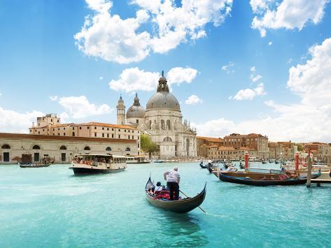 grand canal and basilica santa maria della salute venice italy and