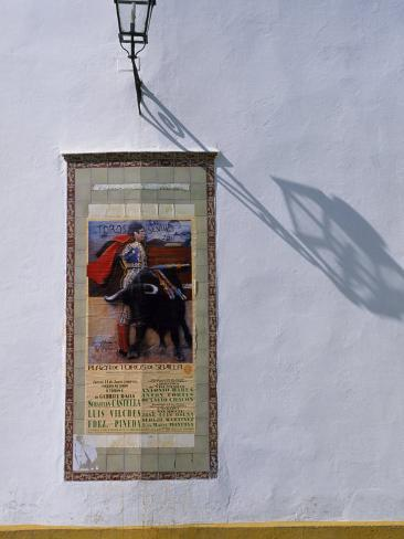 Poster Adveritising a Bull Fight on the Exterior of the Bull Ring, Plaza De Torres De La Maestranza Photographic Print