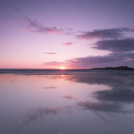Sunset Reflected in Wet Sand and Sea on Crackington Haven Beach, Cornwall, England, UK, Europe Photographic Print